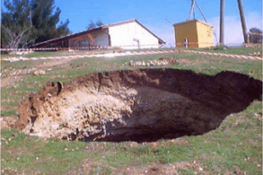 These sinkholes and voids happen during times with an abundance of rain that get into the soil. The rainwater is collected from carbon dioxide.